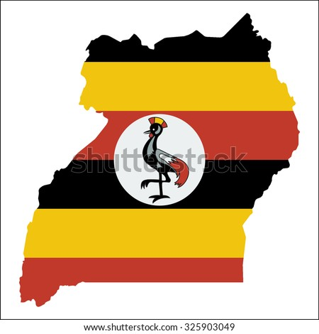 High resolution Uganda map with country flag. Flag of the Uganda  overlaid on detailed outline map isolated on white background