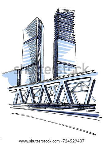 highrise building sketch stock vector royalty free 724529407