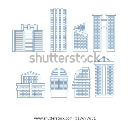 High-rise buildings. Buildings line icon set. City Skyscrapers vector illustration - stock vector