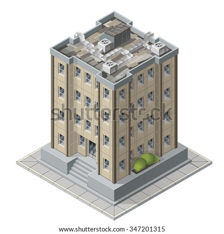 High rises isometric building icons for game vector illustration of tall modern apartment buildings - stock vector