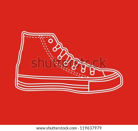 High sneaker drawn in a sketch style. - stock vector