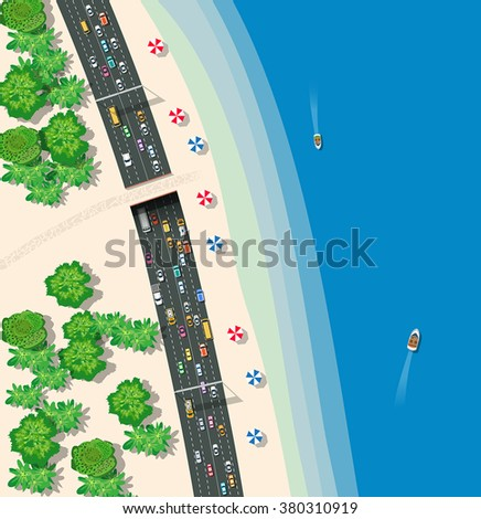 High-speed highway with cars buses and trucks. Top view urban road transport. - stock vector