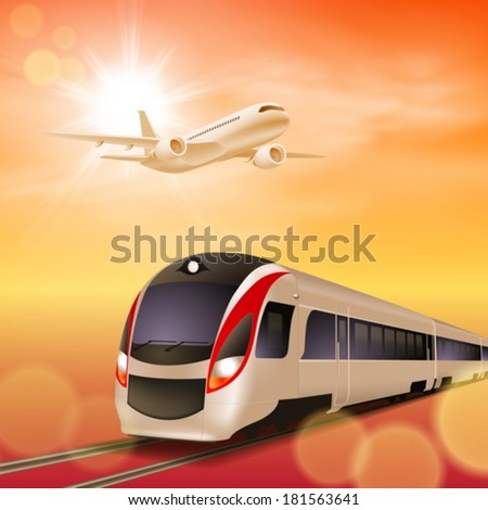 High-speed train and airplane in the sky. Sunset time. EPS10 vector. - stock vector