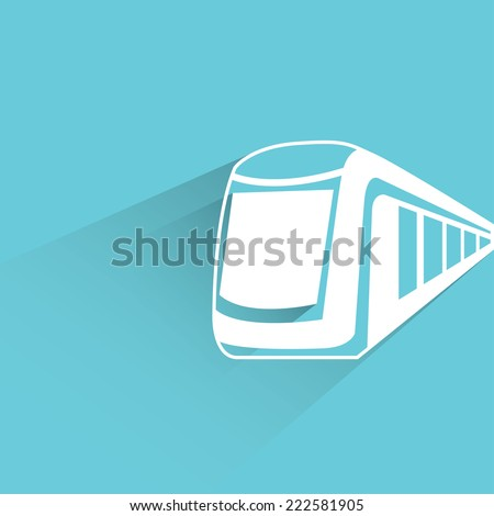 high speed train in blue background, flat and shadow design - stock vector