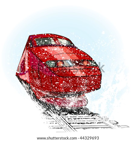 High speed train in snow - stock vector