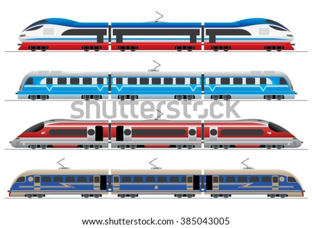 high-speed trains / railway transport collection with unique design / vector illustration - stock vector