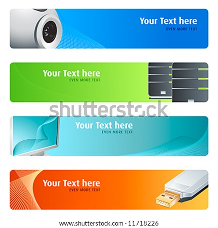 High-tech banner or header 4-color backgrounds set. - stock vector
