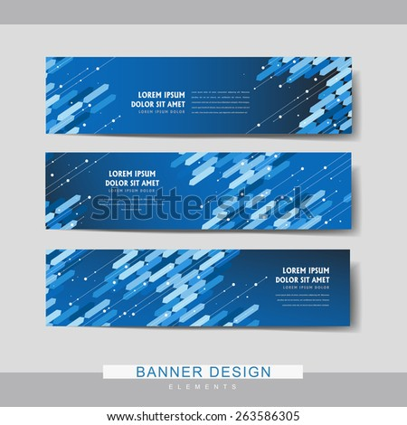 high-tech banner set template design with blue geometric elements - stock vector