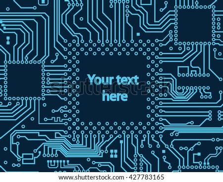 High tech circuit board vector background - stock vector