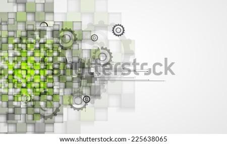 high tech eco green infinity computer technology concept background - stock vector