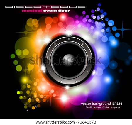 High Tech Futuristic Music Disco Background with glowing Rainbow lights - stock vector