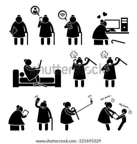 High Tech Granny Elderly Old Woman Using Computer and Smartphone Stick Figure Pictogram Icons - stock vector
