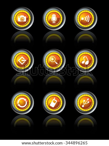 High Tech Icon Set-Vector illustration of glossy icons - stock vector