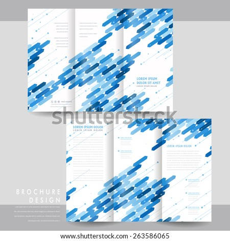 high-tech tri-fold brochure template design with blue geometric elements - stock vector