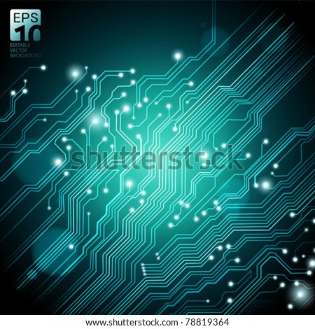 high tech vector background with circuit board texture - stock vector
