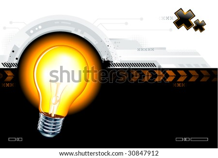 High technology background with the lamp - stock vector