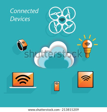 High technology devices connected to the network using SAAS. Smart devices can access to the cloud services and can interact together. - stock vector