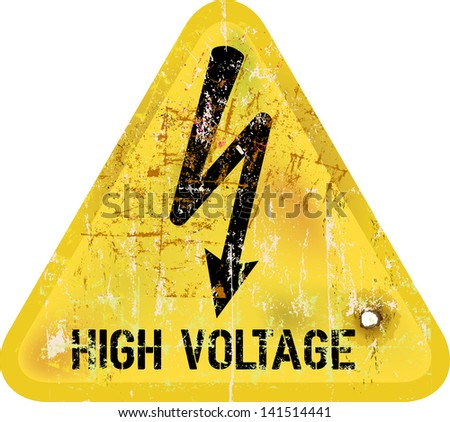 high voltage, electric shock warning sign, vector - stock vector