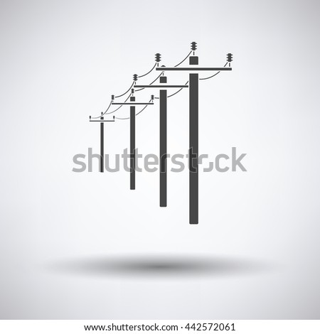 High voltage line icon on gray background, round shadow. Vector illustration.