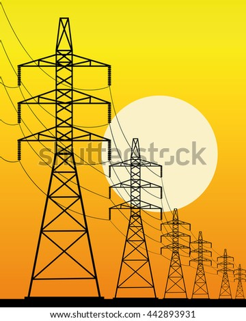 high-voltage line on an orange background with the sun