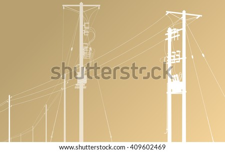 High voltage power line grid vector brown background - stock vector