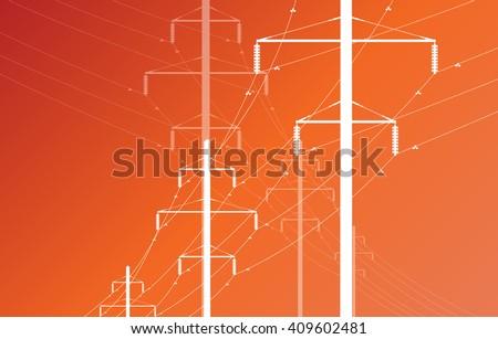 High voltage power line grid vector orange background - stock vector