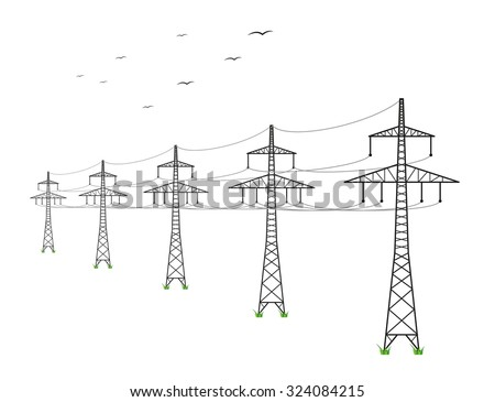 high voltage power lines and birds on white background - stock vector