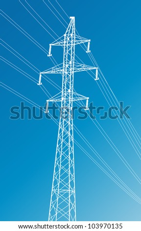 High voltage power lines and pylon vector background - stock vector