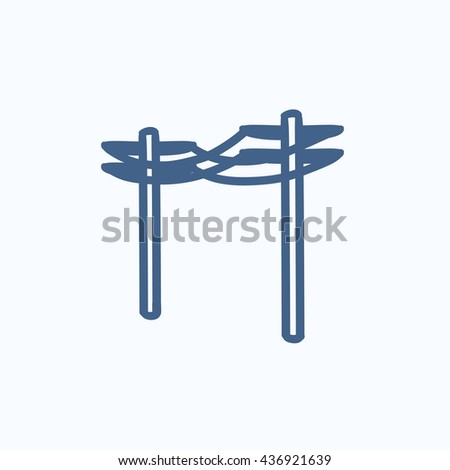 High voltage power lines vector sketch icon isolated on background. Hand drawn High voltage power lines icon. High voltage power lines sketch icon for infographic, website or app. - stock vector