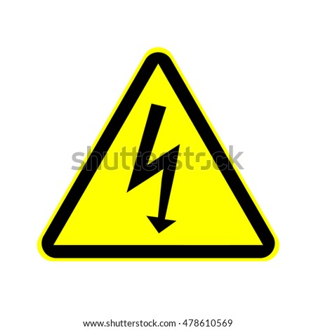 High Voltage Sign. Danger symbol. Black arrow isolated in yellow triangle on white background. Warning icon.