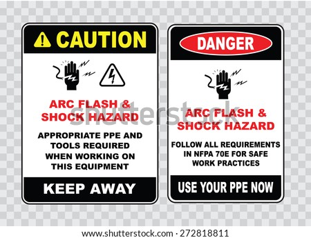 high voltage sign or electrical safety sign (arc flash shock hazard appropriate ppe and tools required when working on this equipment, follow all requirements safe work). - stock vector