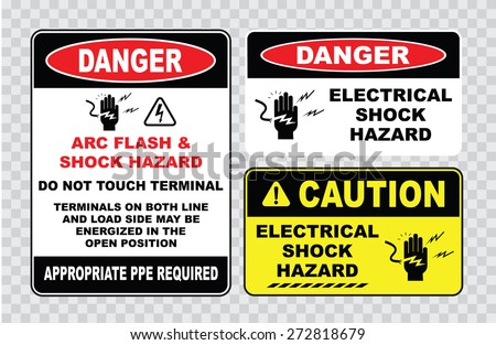 high voltage sign or electrical safety sign (arc flash shock hazard, do not touch terminal, on both line and load side may be energized in the open position) - stock vector