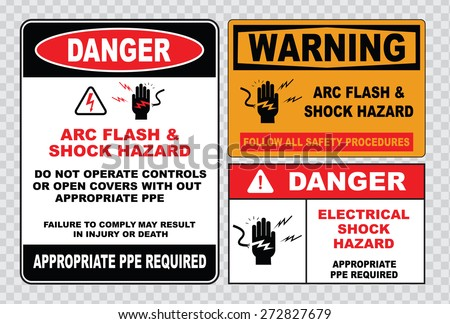 high voltage sign or electrical safety sign (arc flash shock hazard follow all safety procedures, do not operate controls without appropriate ppe)  - stock vector