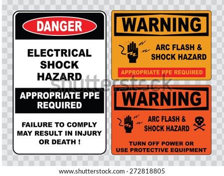 high voltage sign or electrical safety sign (electrical shock hazard, appropriate ppe required failure to comply may result in injury or death, skull, turn off power). - stock vector