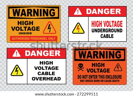 high voltage sign or electrical safety sign (high voltage inside authorized personnel only, underground cable, cable overhead, warning do not enter this enclosure may shock burn or cause death)  - stock vector
