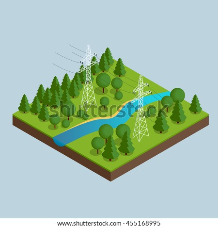 High voltage transmission lines and power pylons. High voltage towers. Electricity pylons. Vector illustration of industrial landscape. Flat 3d vector isometric illustration. - stock vector