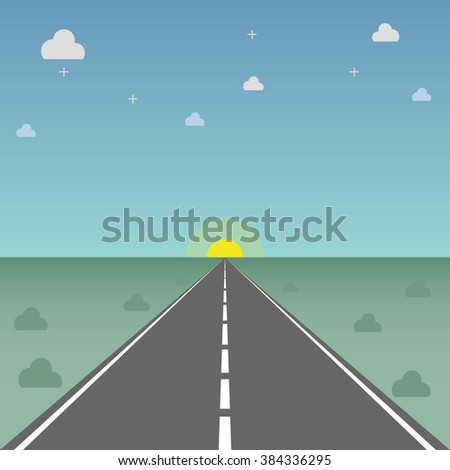 High way to success Flat design for business financial marketing banking advertising web commercial concept cartoon illustration.