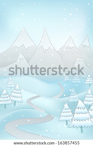 high winter landscape with road to mountains and spruce trees around vector illustration