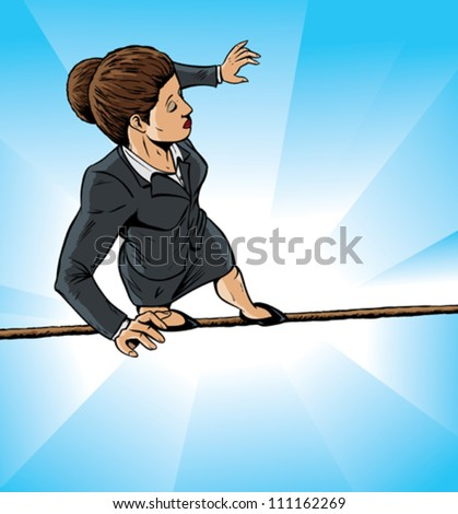 High wire business girl - stock vector