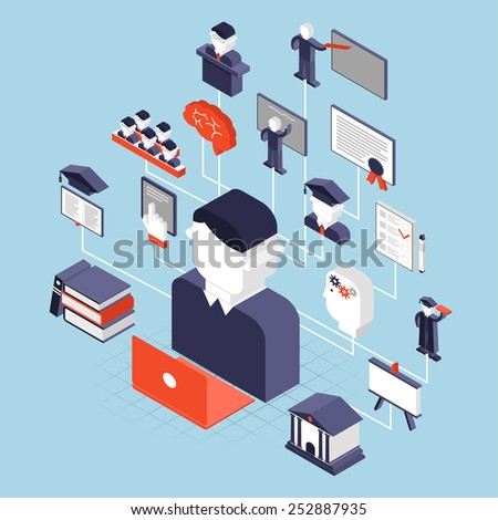 Higher education knowledge university decorative icons isometric set vector illustration - stock vector