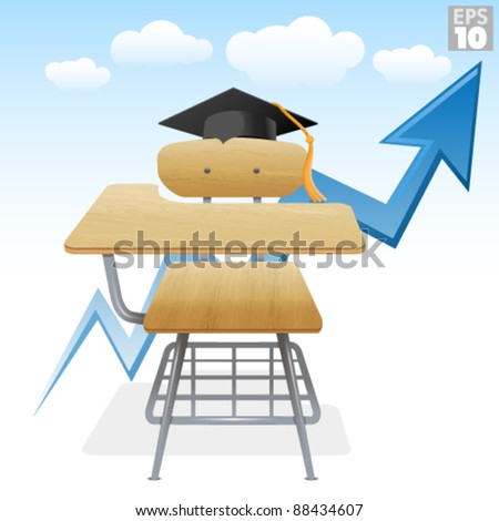 Higher education with school desk, graduation hat, and sky - stock vector