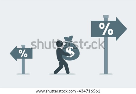 Higher interest rates, investment vector design - stock vector