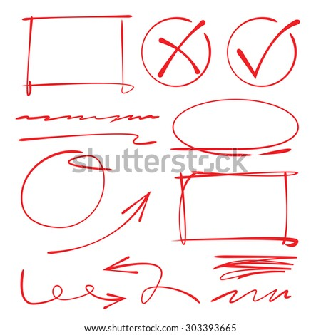 highlighter circles, hand drawn markers - stock vector