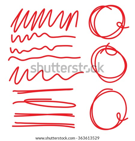 Highlighter circles scribbles and underlines, curves and zigzags  set for marks. Vector imitation of hand drawing. - stock vector