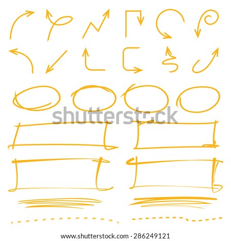 highlighter elements, vector set - stock vector