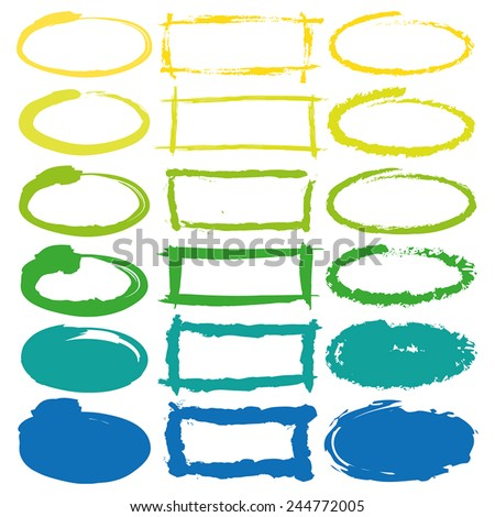 Highlighter, hand drawn frames oval and rectangular in yellow, green and blue. Stylish elements for design. Vector illustration. - stock vector