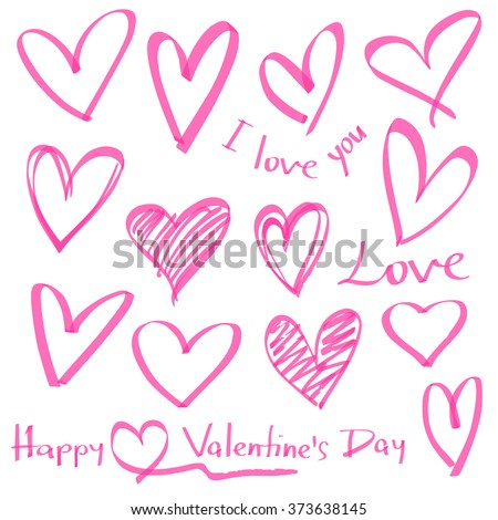 highlighter series, set of hand drawn vector hearts, color can be changed by one click - stock vector
