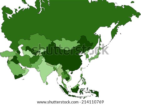 Highly Detailed Asia political map - stock vector