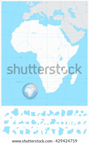 Highly detailed blank outline map of Africa with separated layers. - stock vector