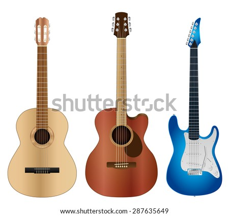Highly detailed classical, acoustic and electric guitars vector illustration.